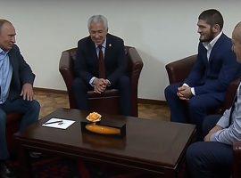 Владимир Путин во время сегодняшнего визита в Дагестан встретился с Хабибом Нурмагомедовым