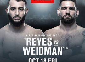Крис Вейдман – Доминик Рейес: прогноз и ставка на бой 19 октября 2019 UFC on ESPN 6