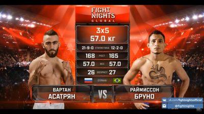 Видео боя Вартан Асатрян - Раймиссон Бруно Fight Nights 95